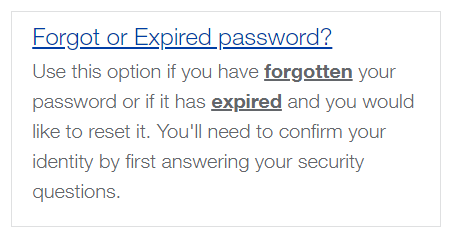 Forgot or expired password screen