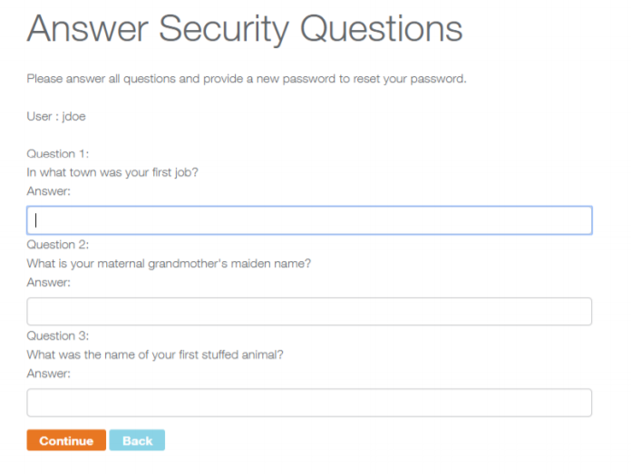 Answer security questions screen