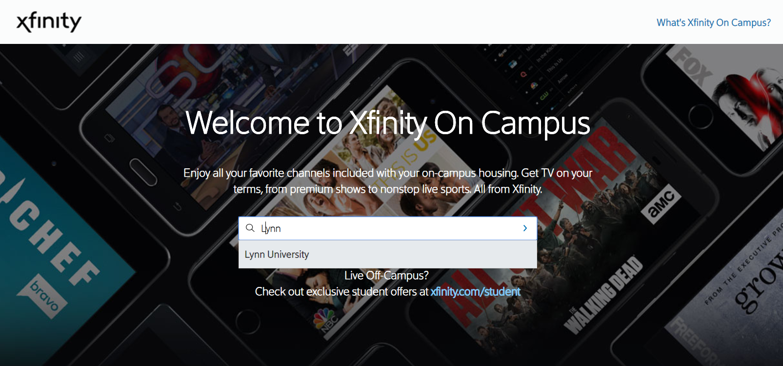 Xfinity institution search page